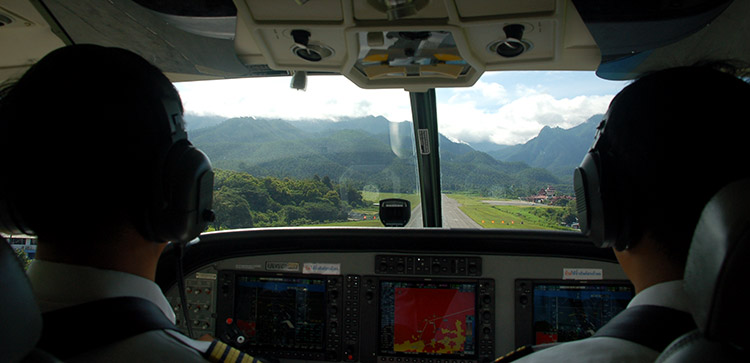 Arrivée en avion à Mae Hong Son depuis l'aéroport Chiang Maï.