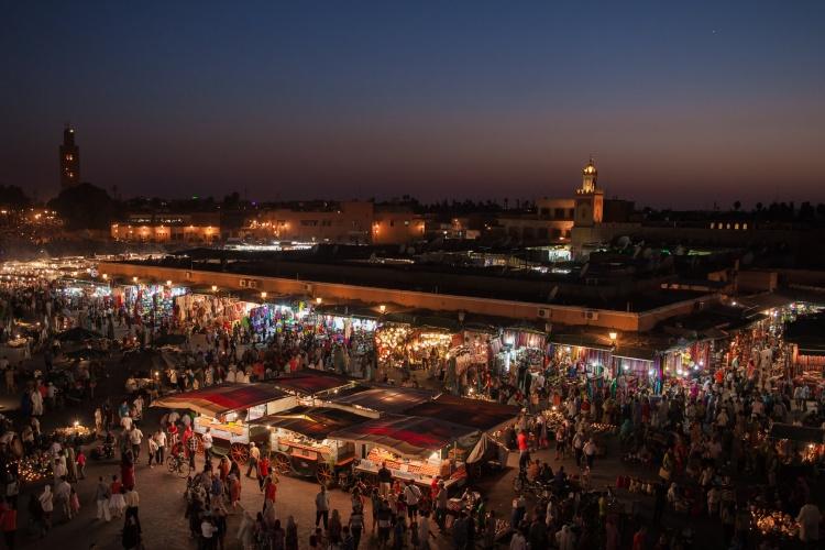 Place Jemaa el-Fna à Marrakech au Maroc