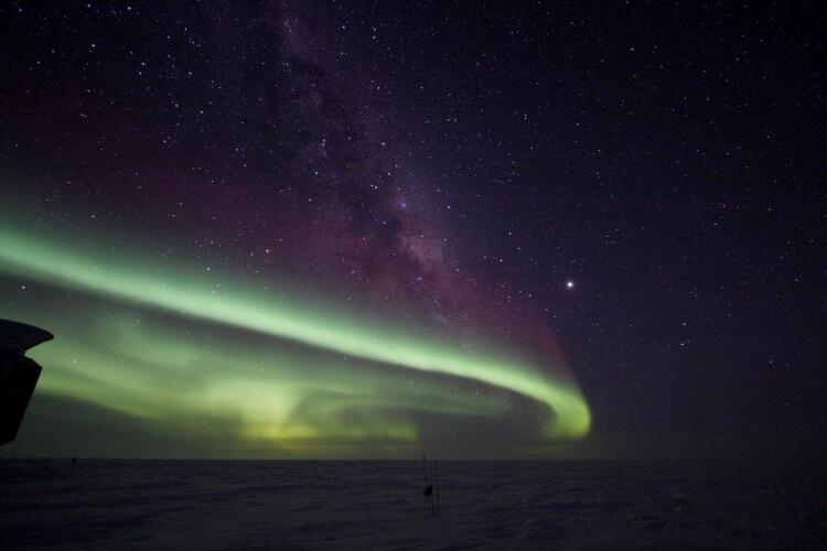 Aurore australe au pôle sud
