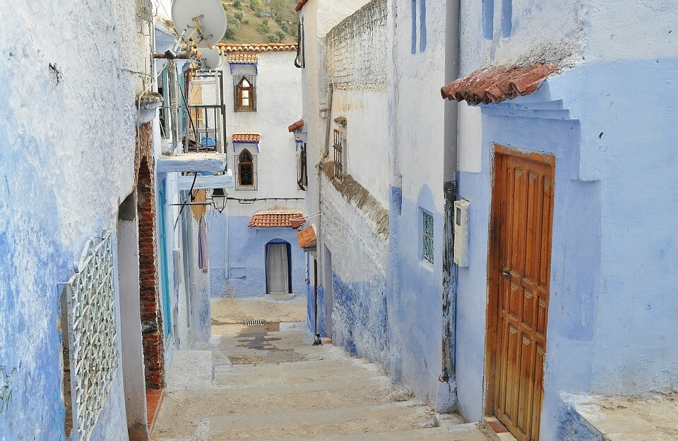 voyage moto au maroc village bleu chefchaouen