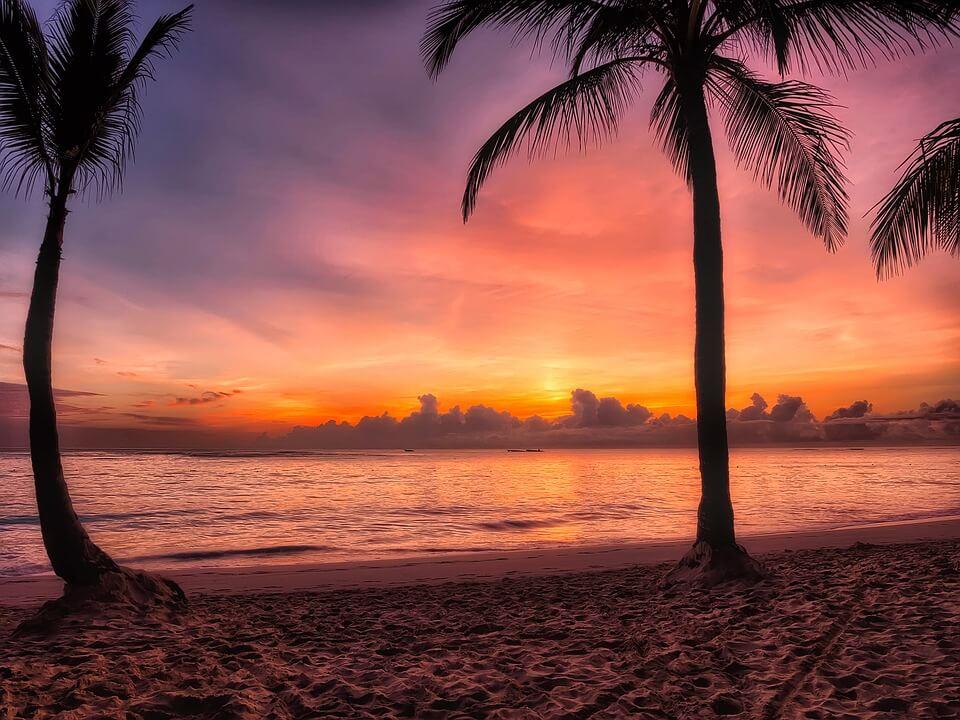palmier coucher de soleil saison des pluies en république dominicaine