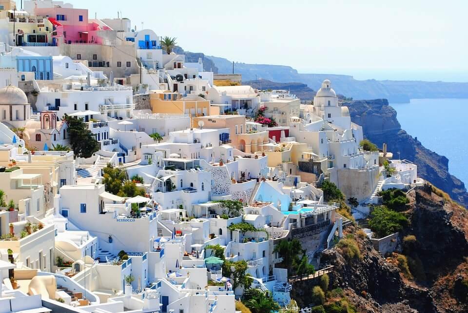 paysage villas blanches santorin oia grece ou croatie