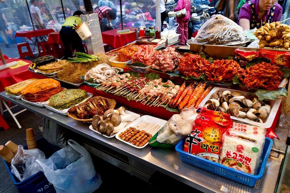 marché nourriture coree