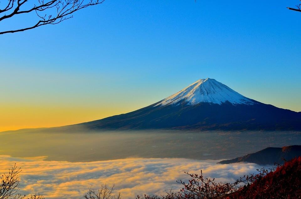 mont fuji panorama neige au sommet japon ou corée du sud