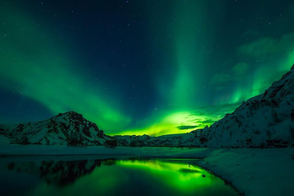 aurore boreale hiver en islande