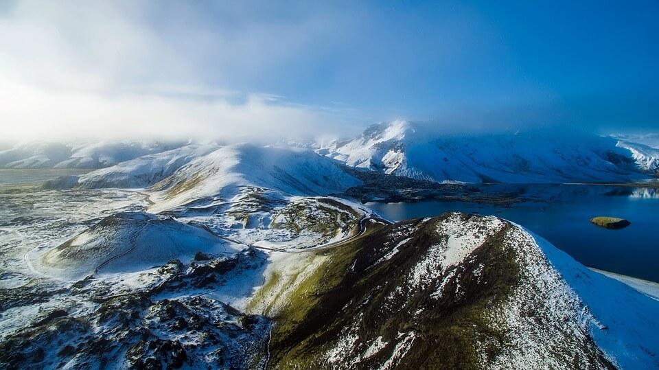 paysage grand espace islande neige où partir en hiver