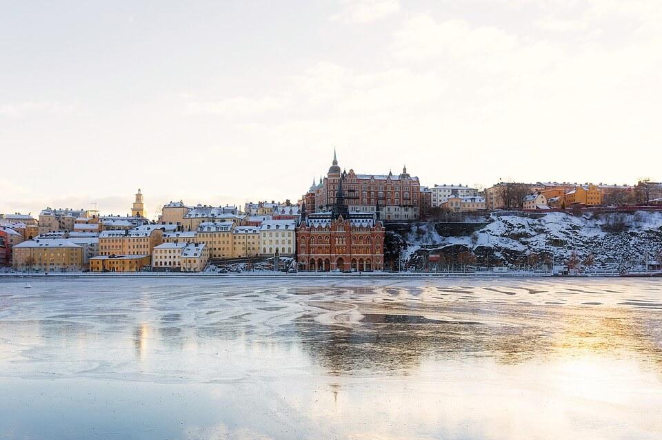 panorama lac gelé stockholm sous la neige stockholm en hiver