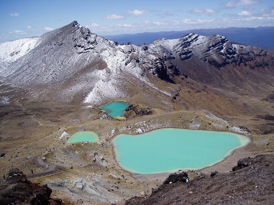 tongariro volcan lacs emeraude nouvelle zelande pays chauds en janvier