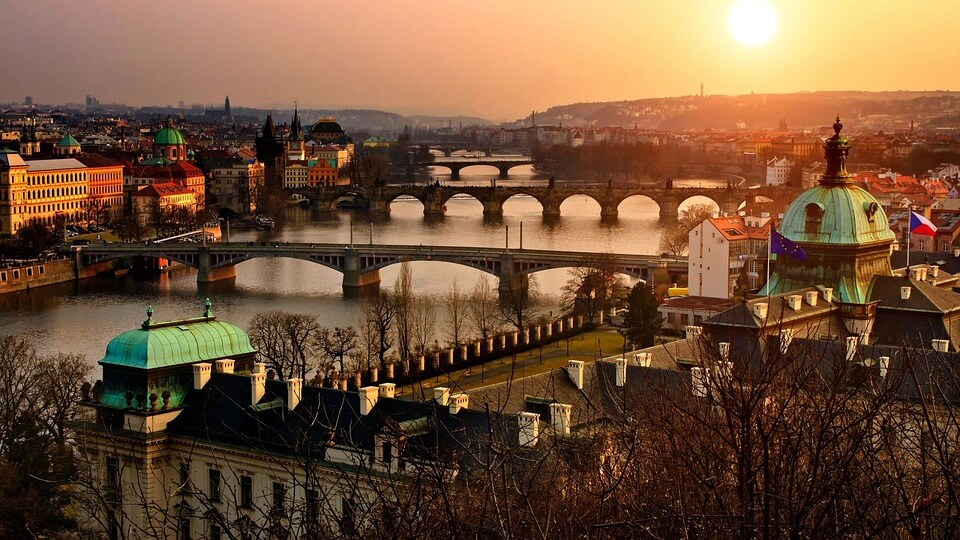 point de vue prague soleil couchant prague en hiver
