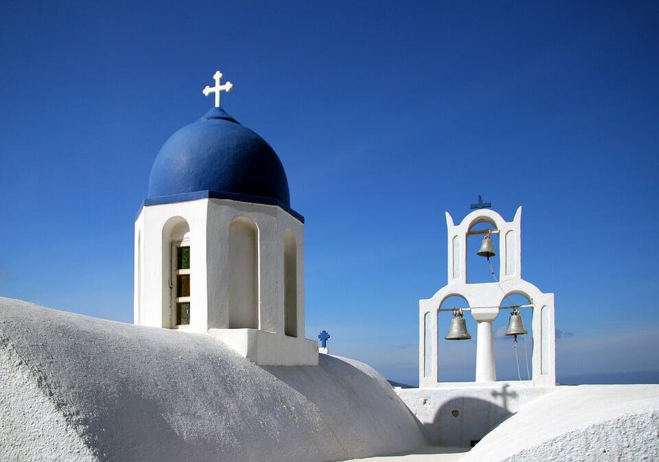 eglises santorin dome bleu