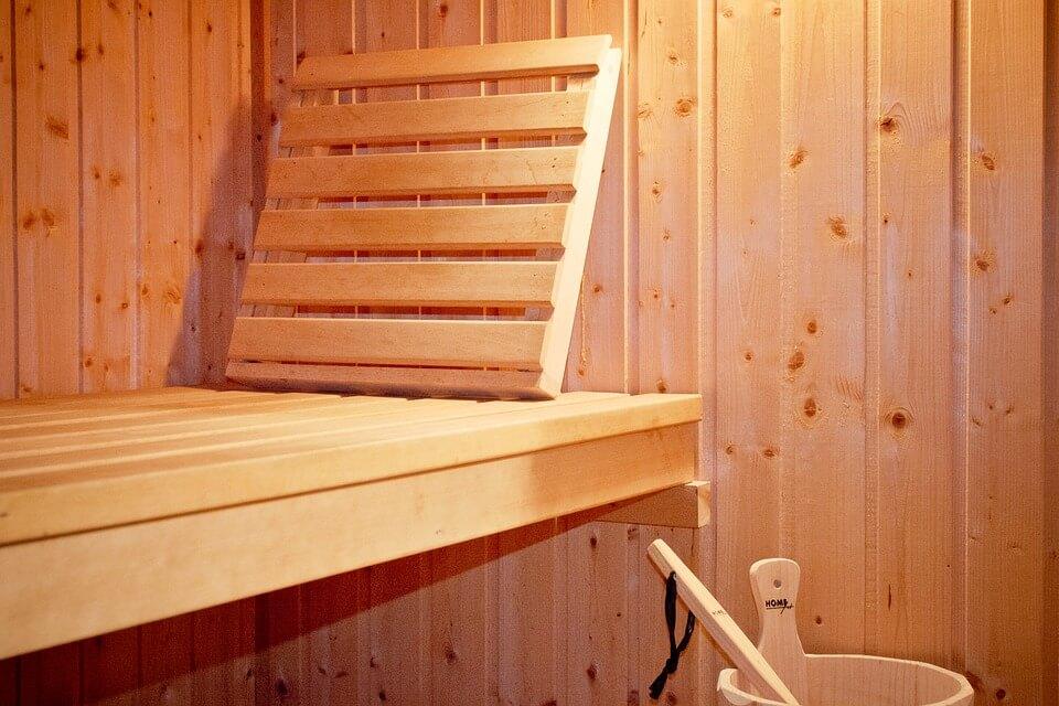 sauna suede banc bois