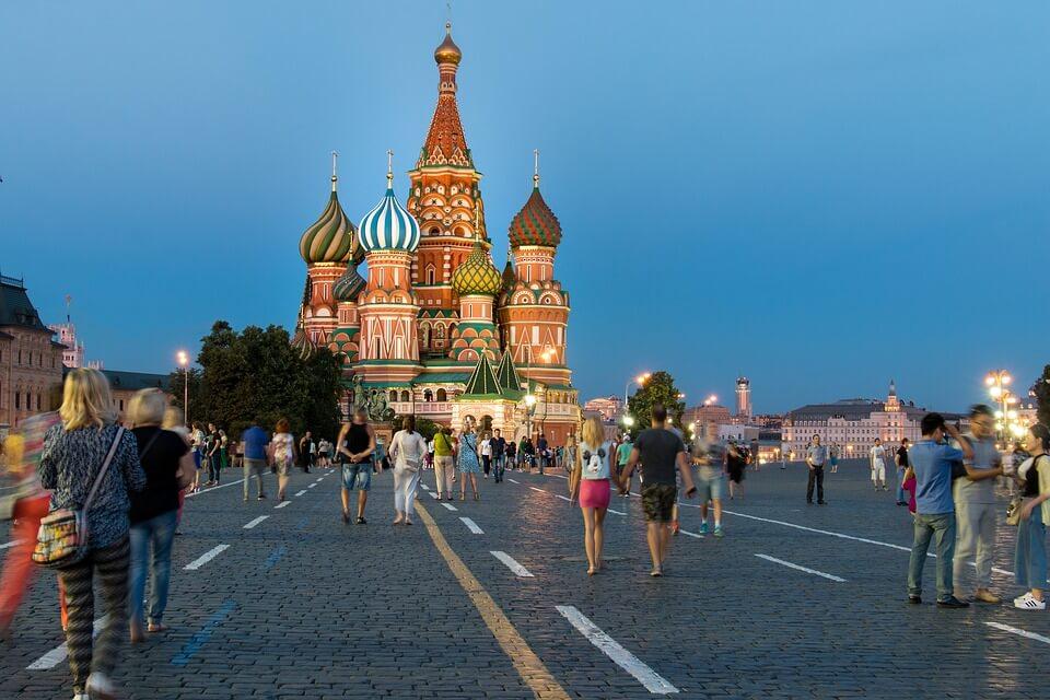 place moscou cathedrale foule croisière Moscou Saint-Pétersbourg