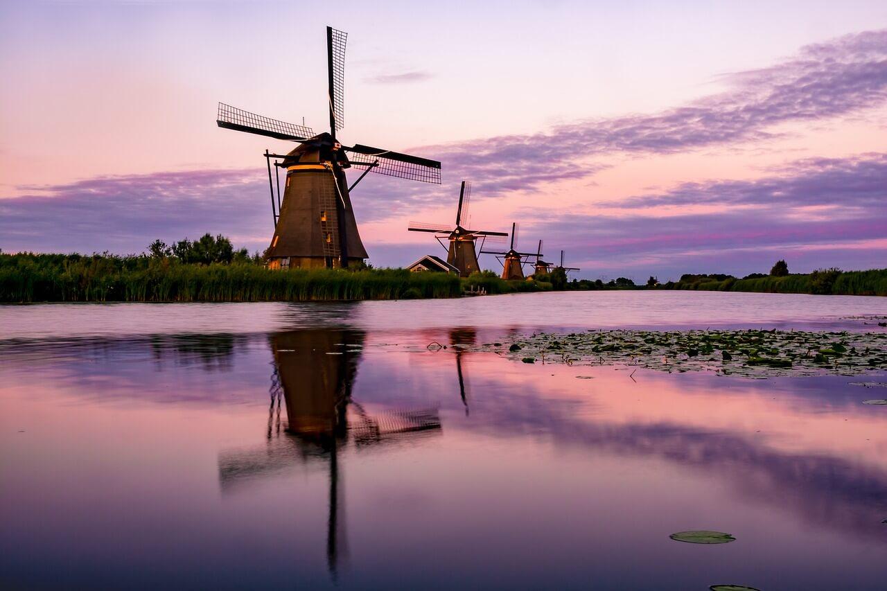 moulins coucher de soleil eau que visiter aux pays-bas