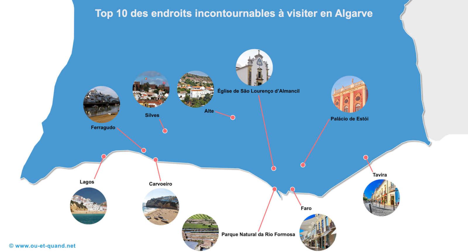 Carte touristique des lieux à visiter en Algarve