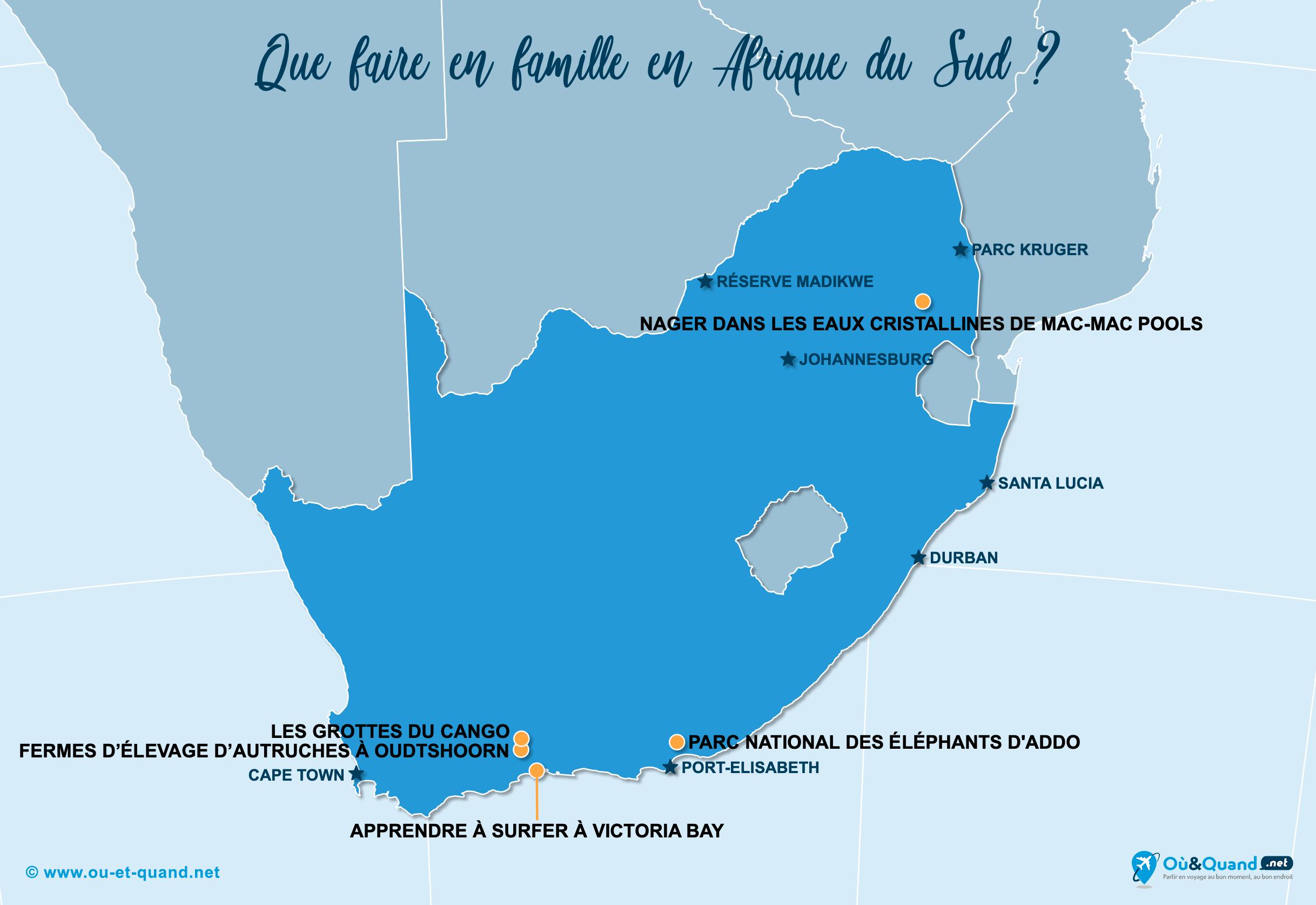 Carte Afrique du Sud : L'Afrique du Sud en famille
