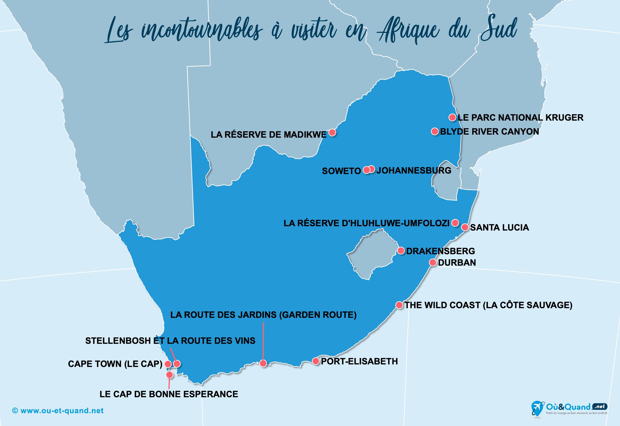Carte Afrique du Sud : Les lieux incontournables en Afrique du Sud