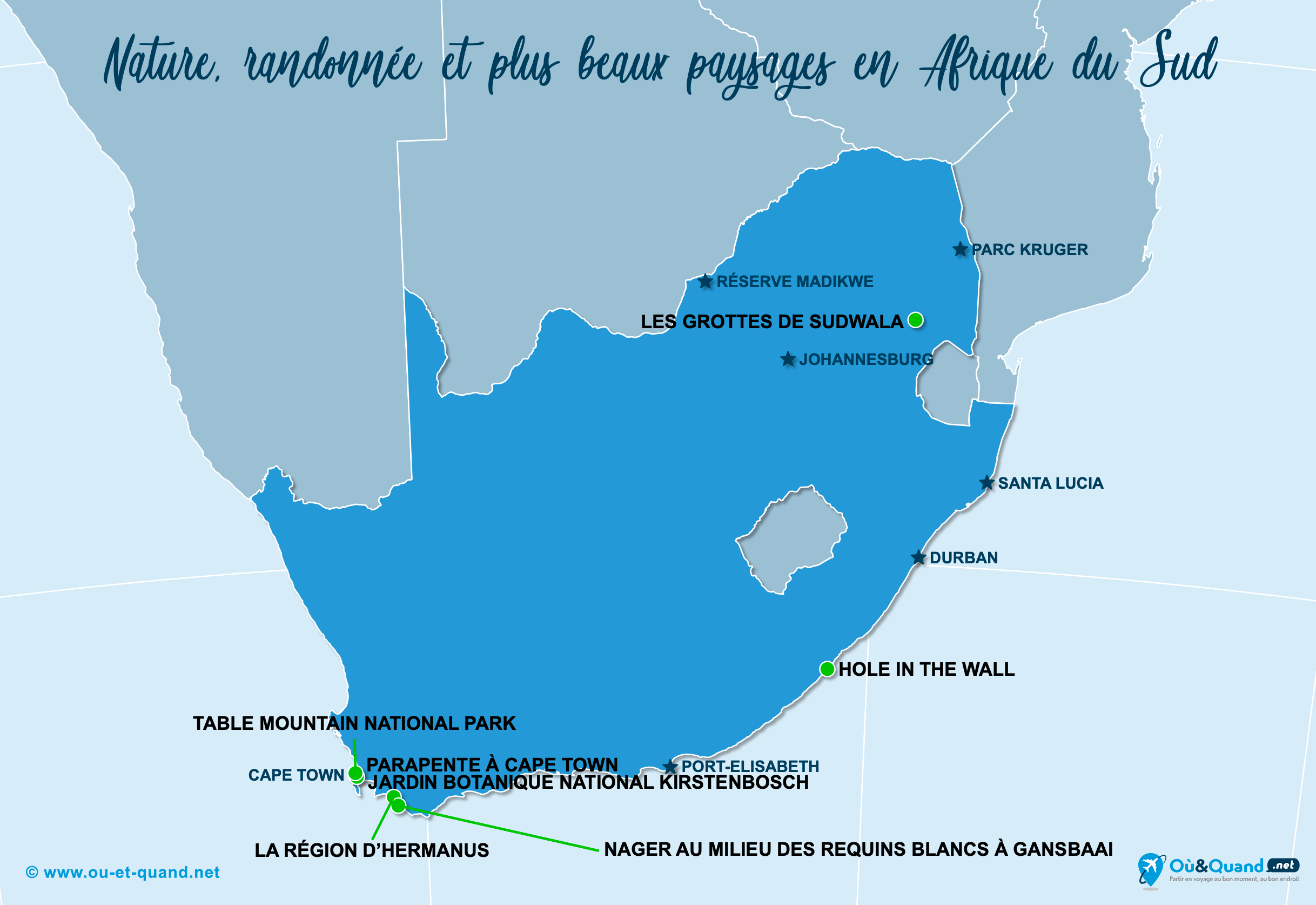 Carte Afrique du Sud : Les plus beaux paysages de l'Afrique du Sud