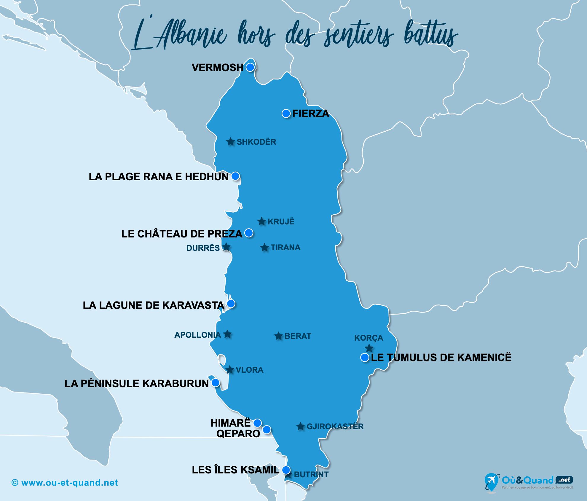 Carte Albanie : L'Albanie hors des sentiers battus