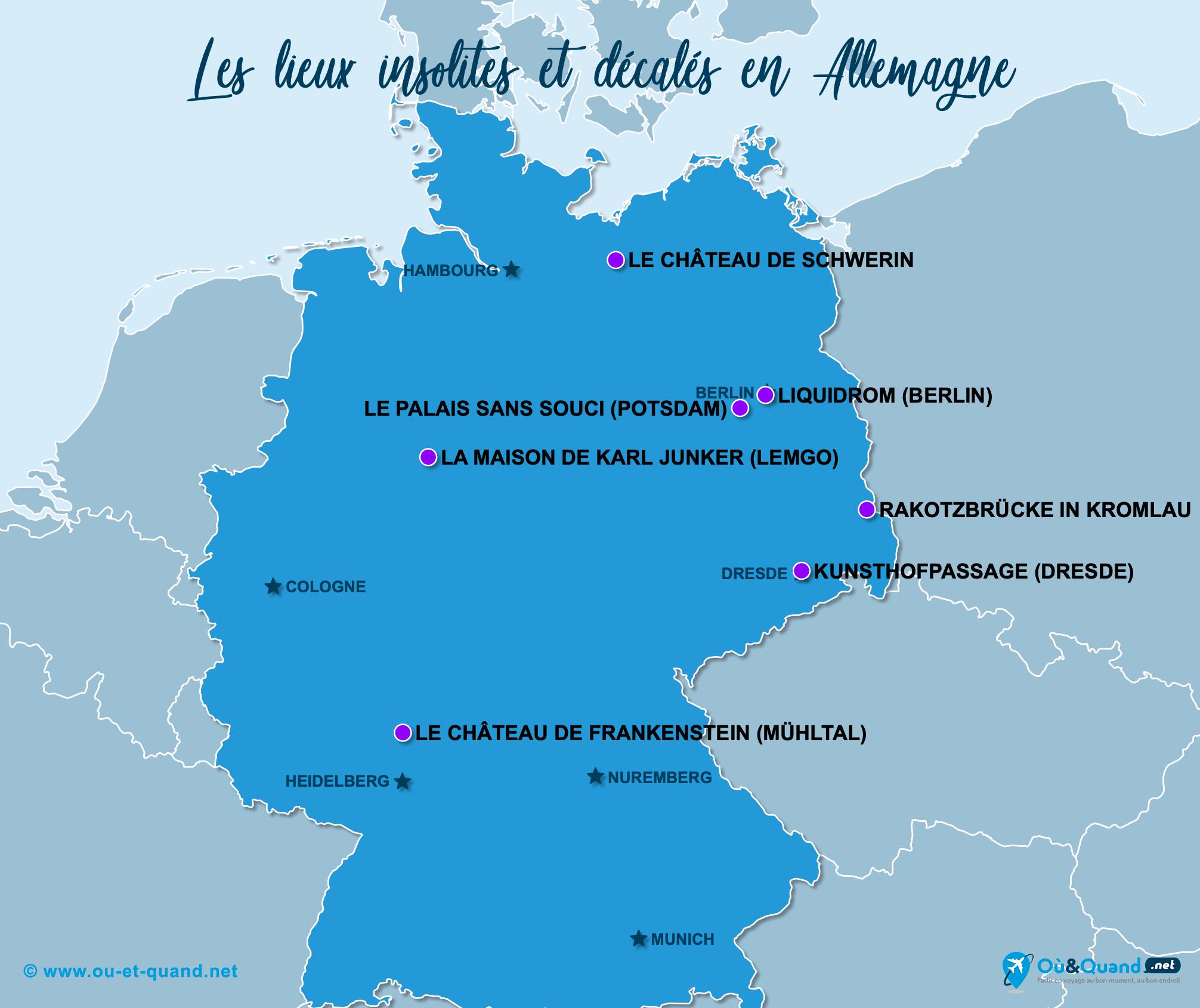 Carte Allemagne : L'Allemagne insolite