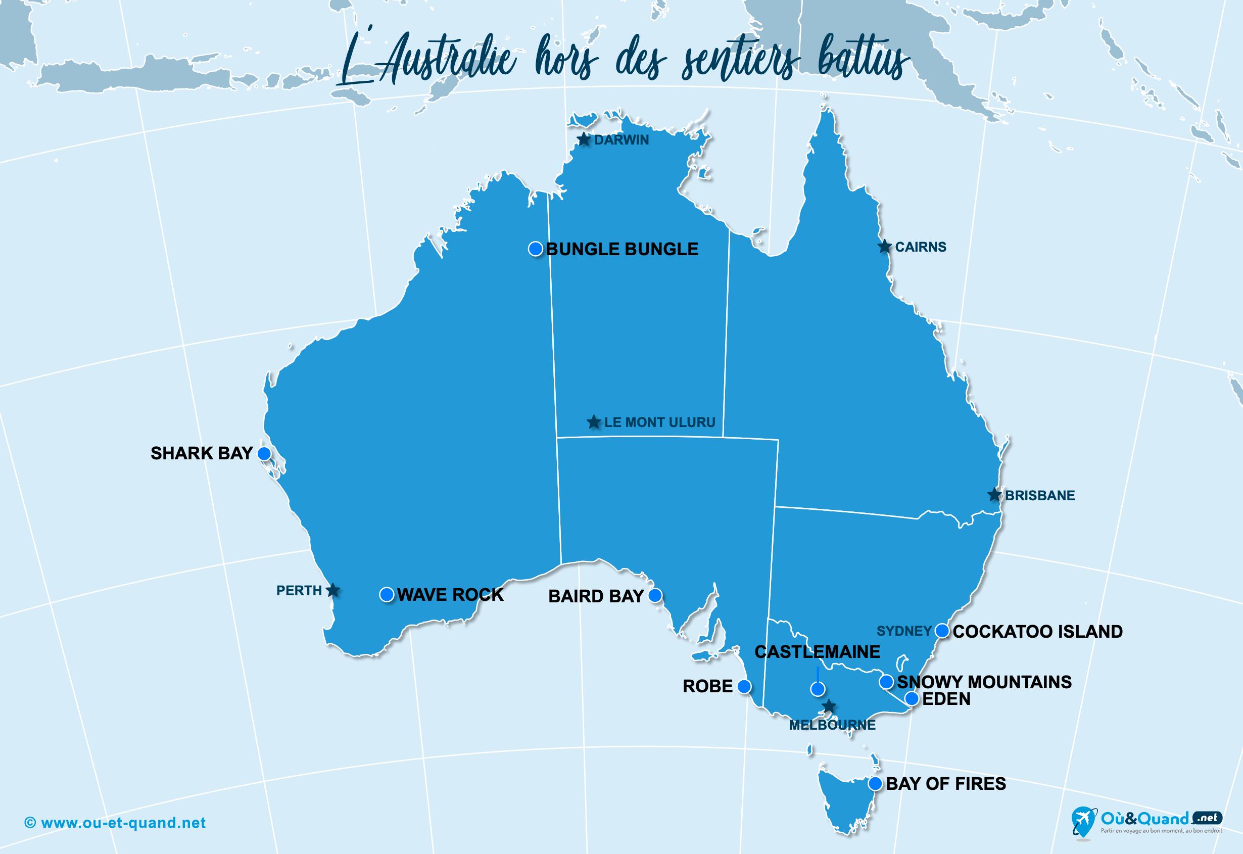 Carte Australie : L'Australie hors des sentiers battus