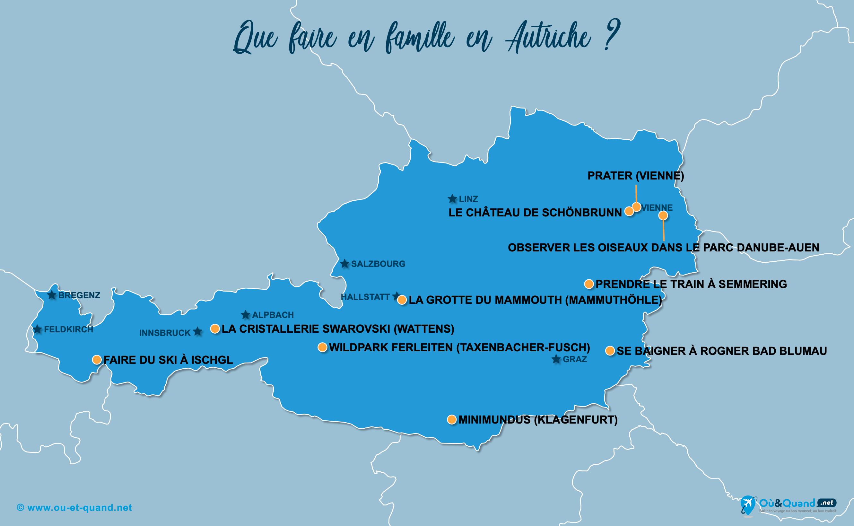 Carte Autriche : L'Autriche en famille