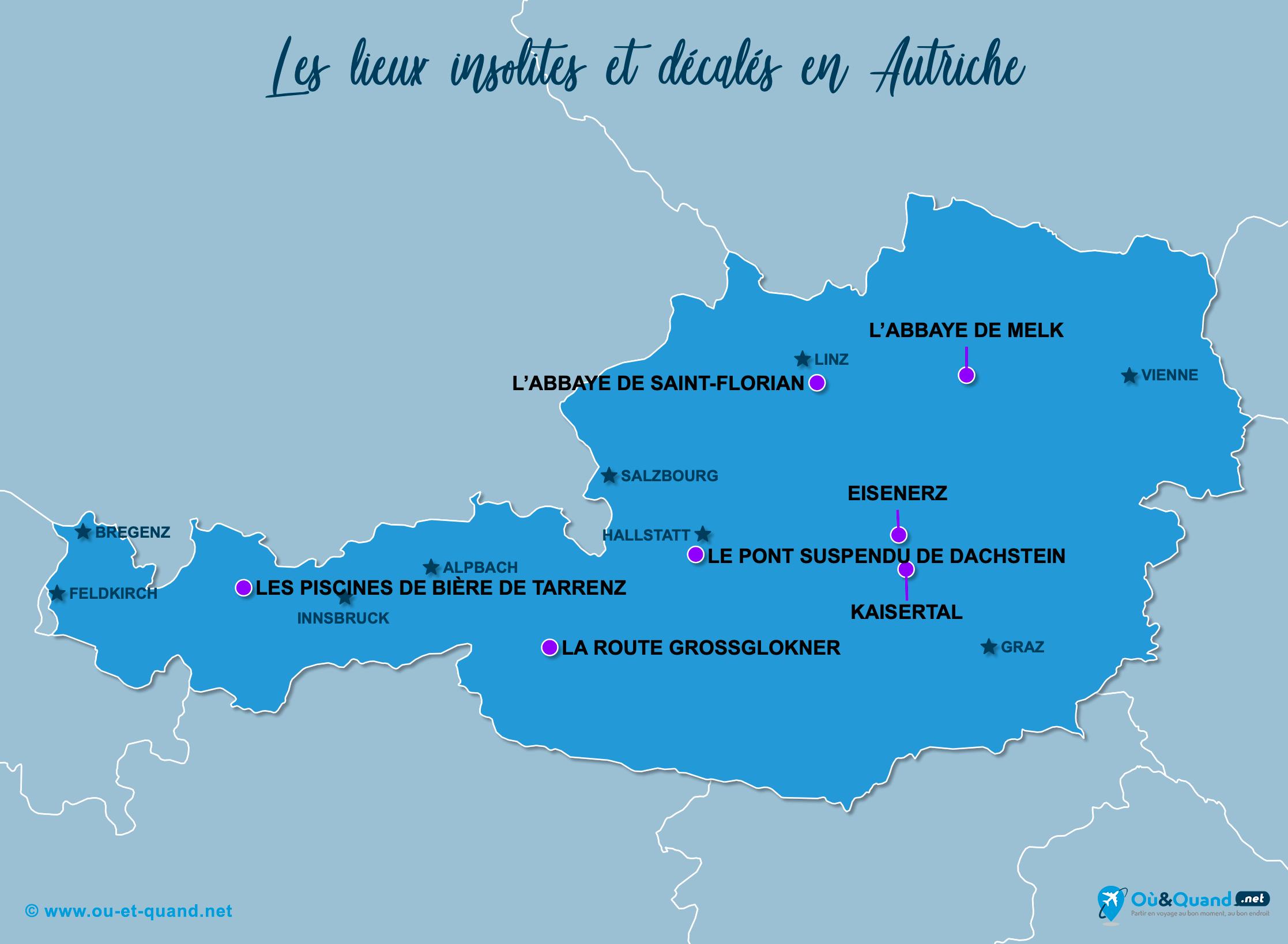 Carte Autriche : L'Autriche insolite