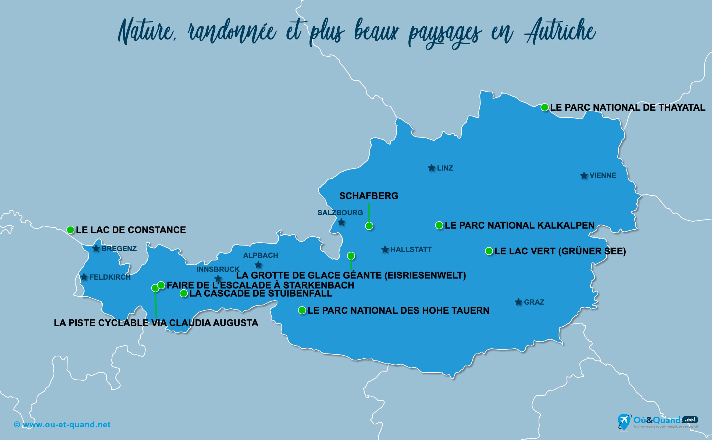 Carte Autriche : Les plus beaux paysages de l'Autriche