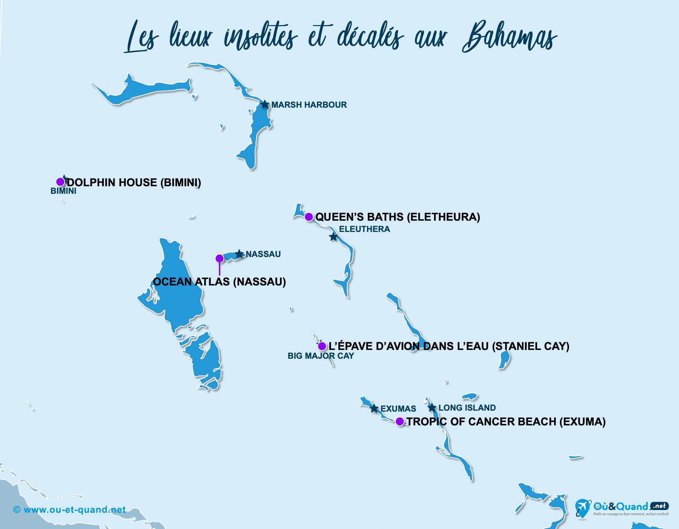 Carte Bahamas : Les Bahamas insolite