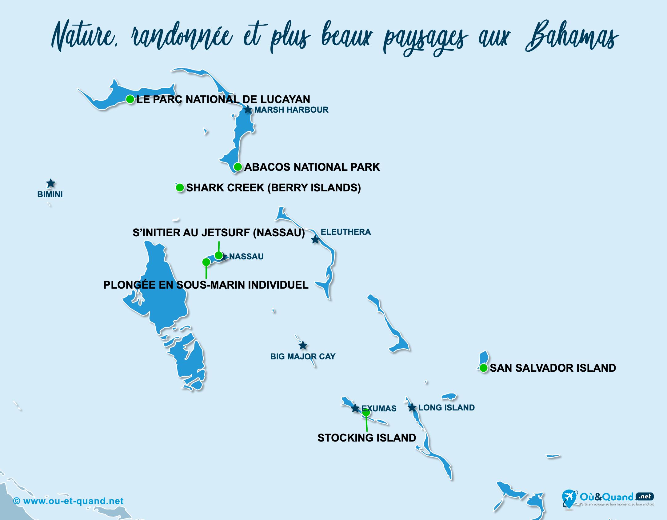 Carte Bahamas : Les plus beaux paysages des Bahamas