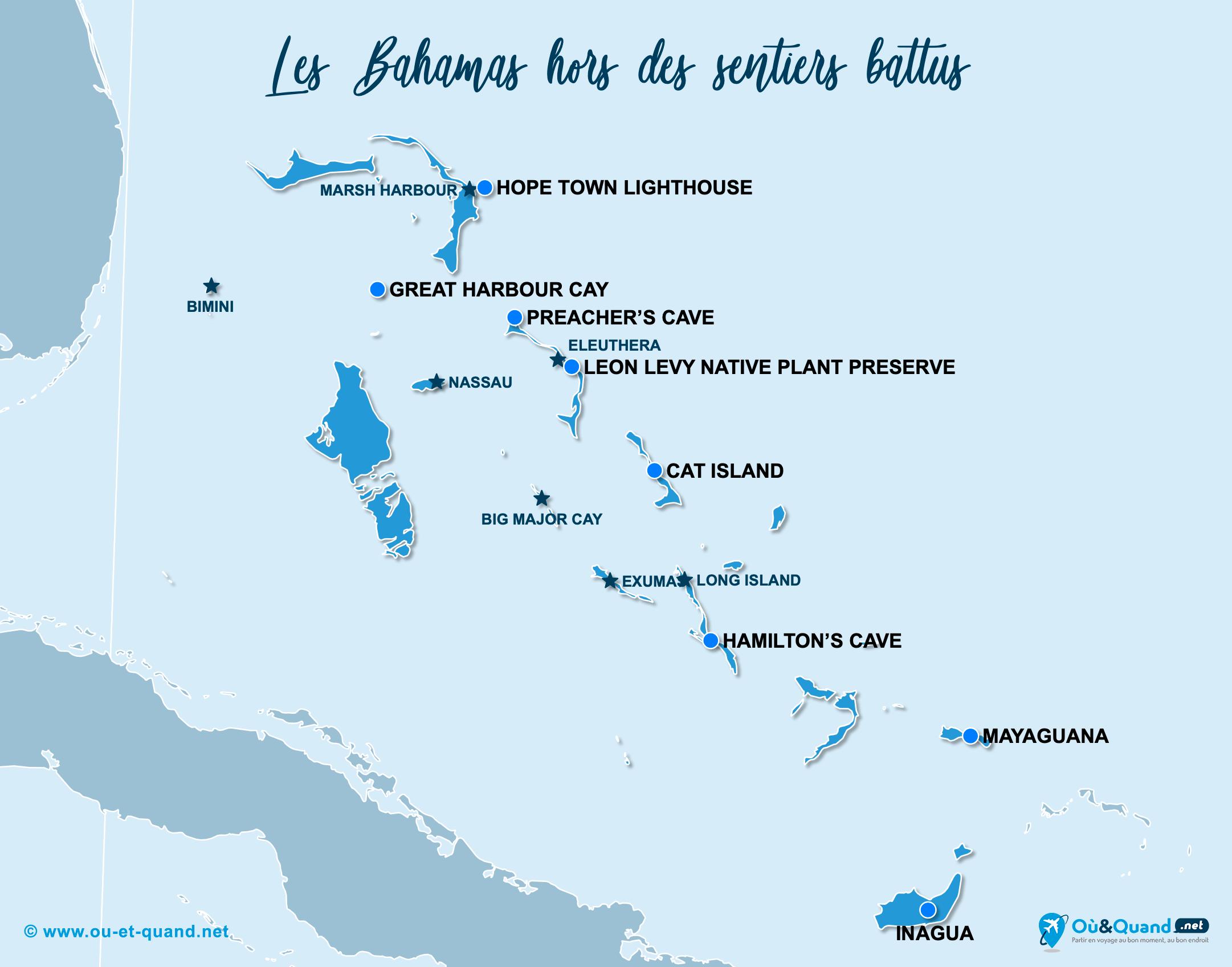 Carte Bahamas : Les Bahamas hors des sentiers battus