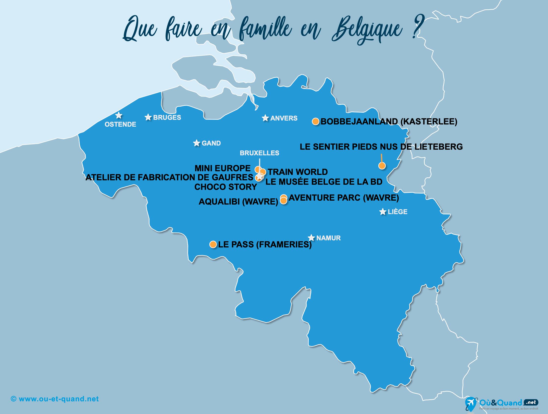 Carte Belgique : La Belgique en famille
