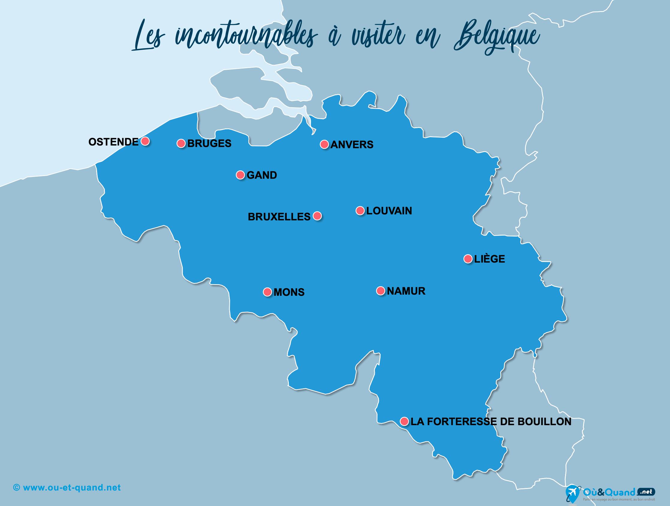 Carte Belgique : Les lieux incontournables en Belgique