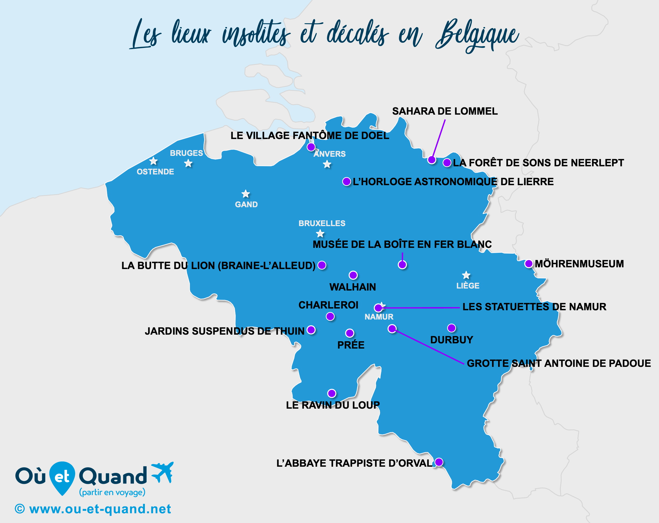 Carte Belgique : La Belgique insolite