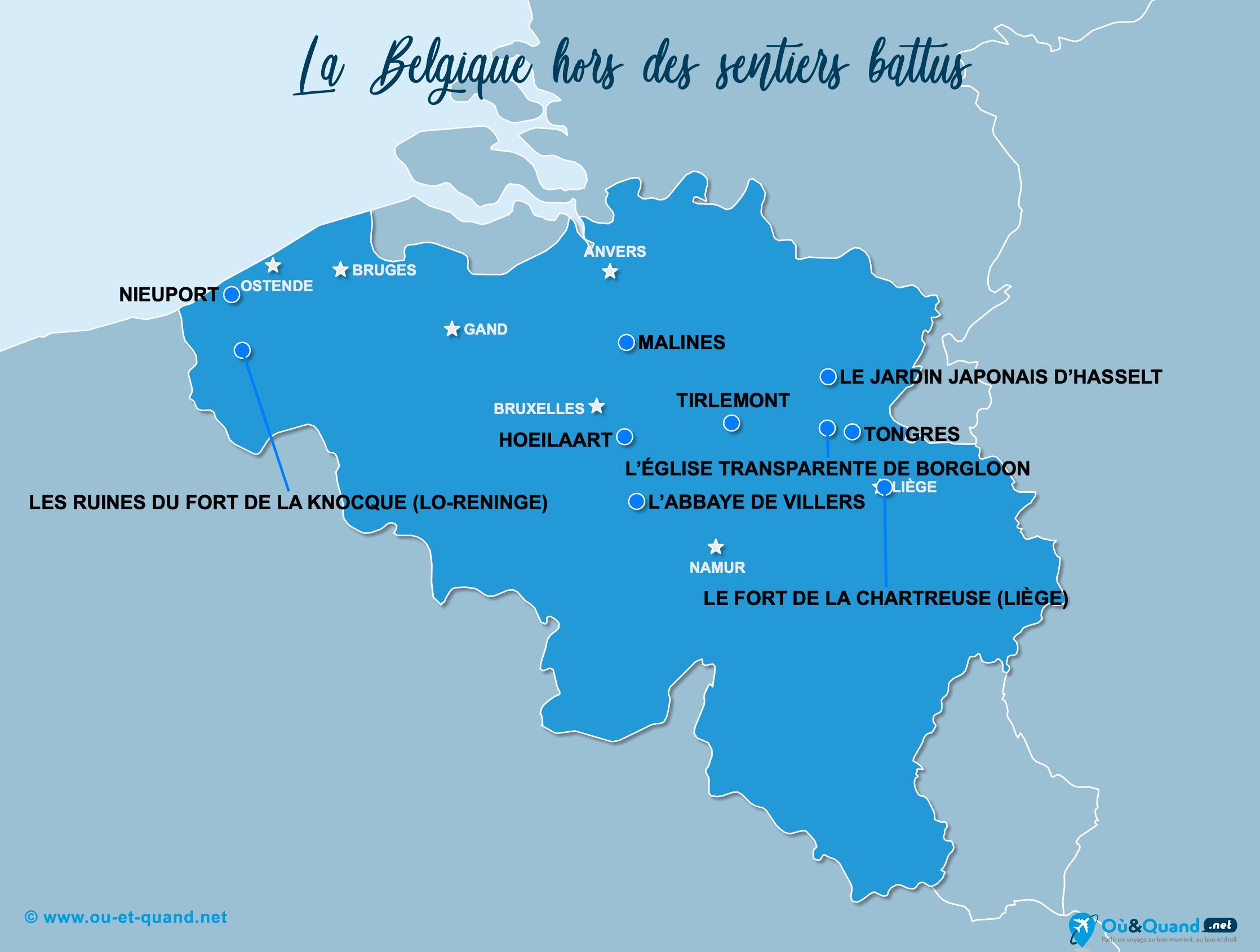 Carte Belgique : La Belgique hors des sentiers battus