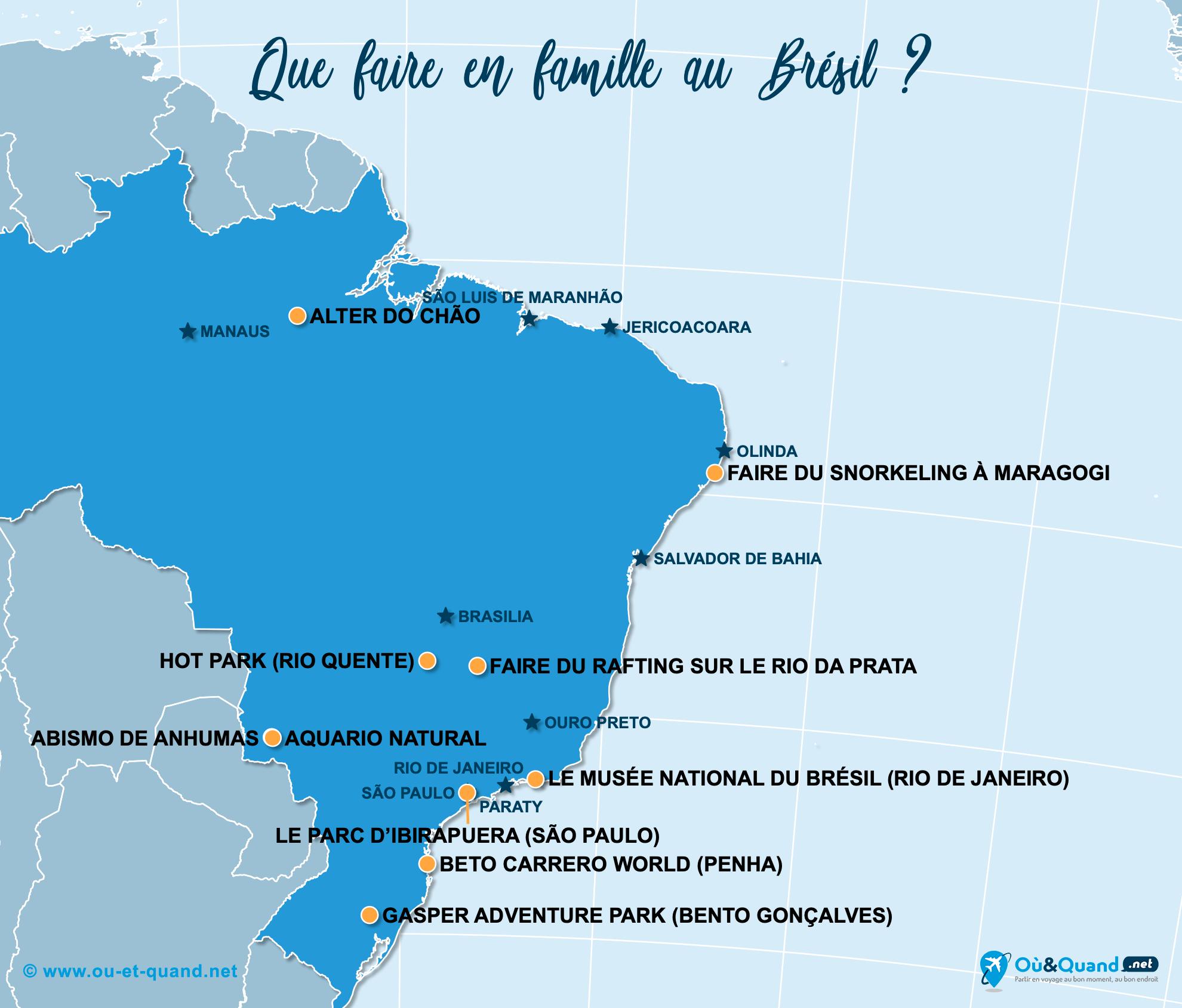Carte Brésil : Le Brésil en famille