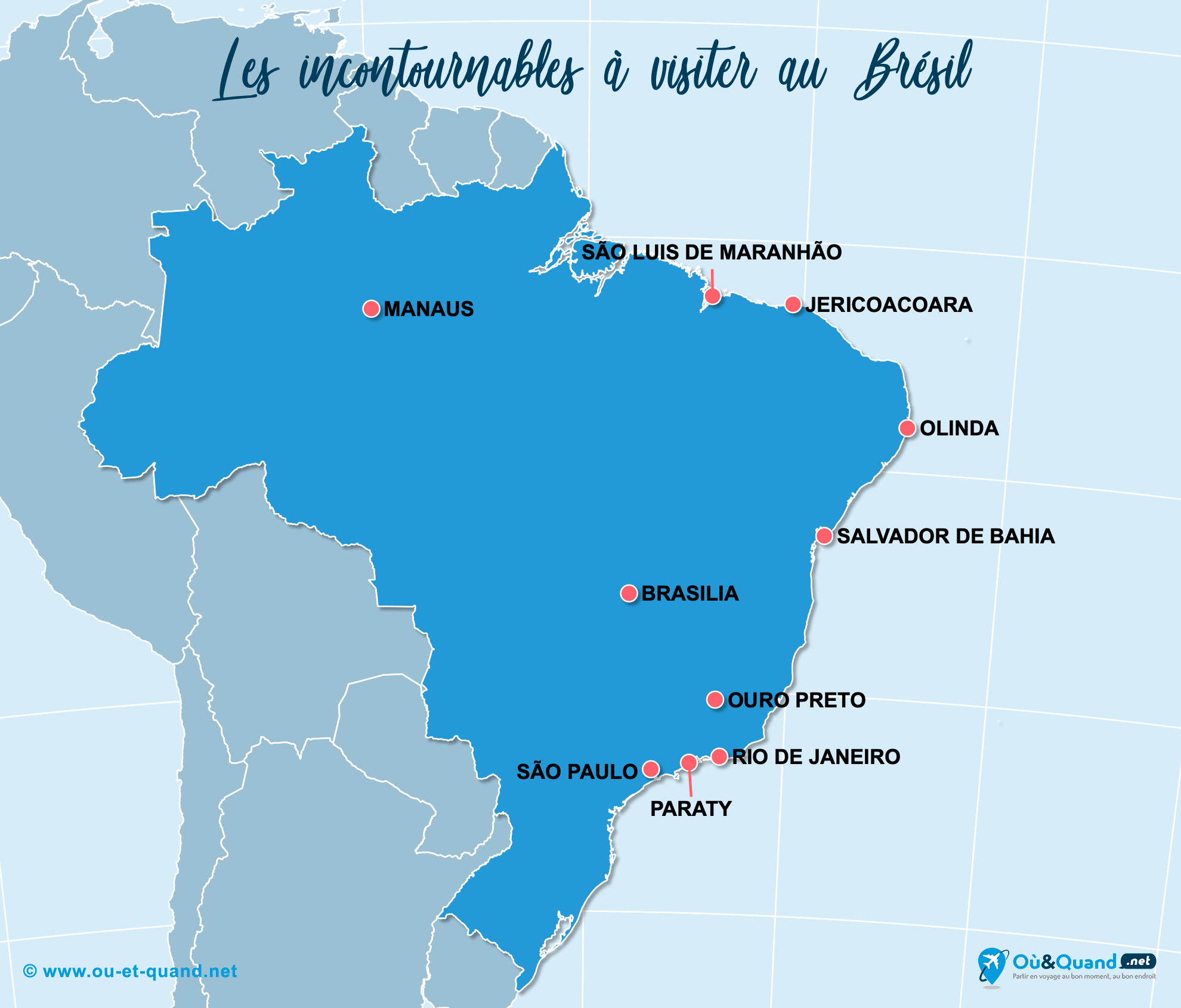 Carte Brésil : Les lieux incontournables au Brésil