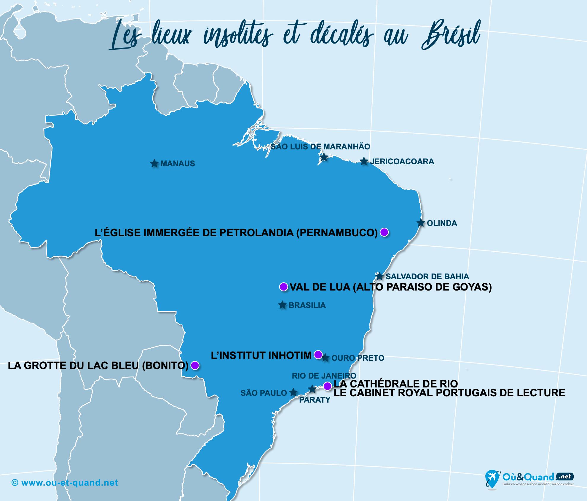 Carte Brésil : Le Brésil insolite