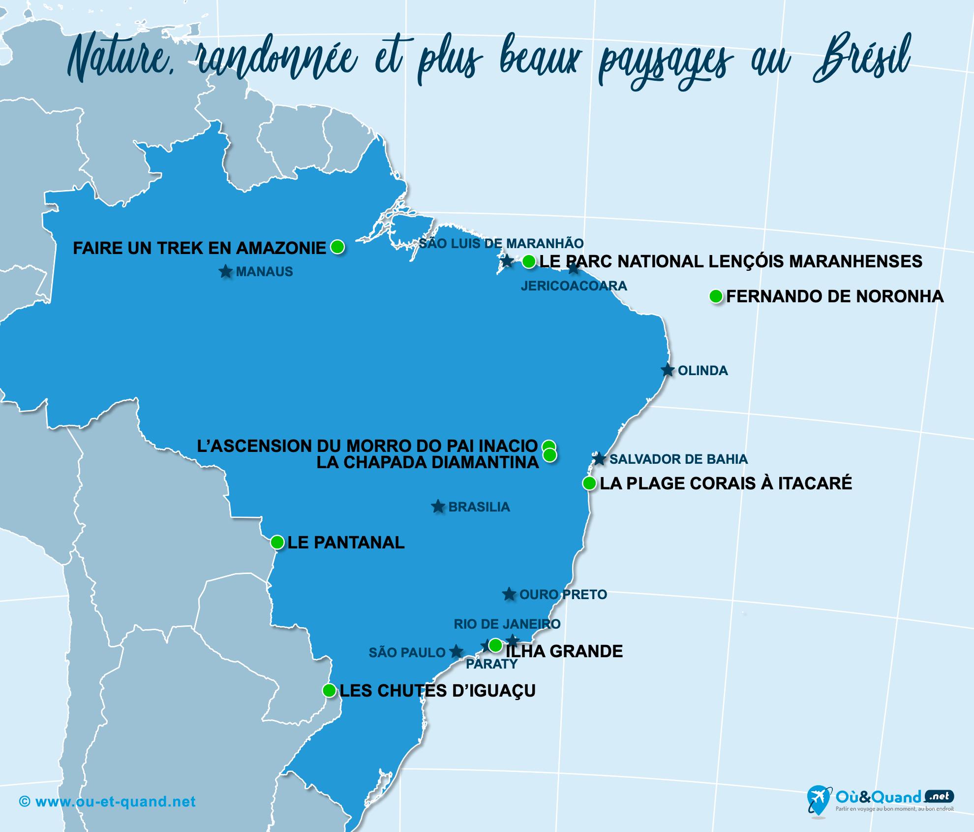 Carte Brésil : Les plus beaux paysages du Brésil