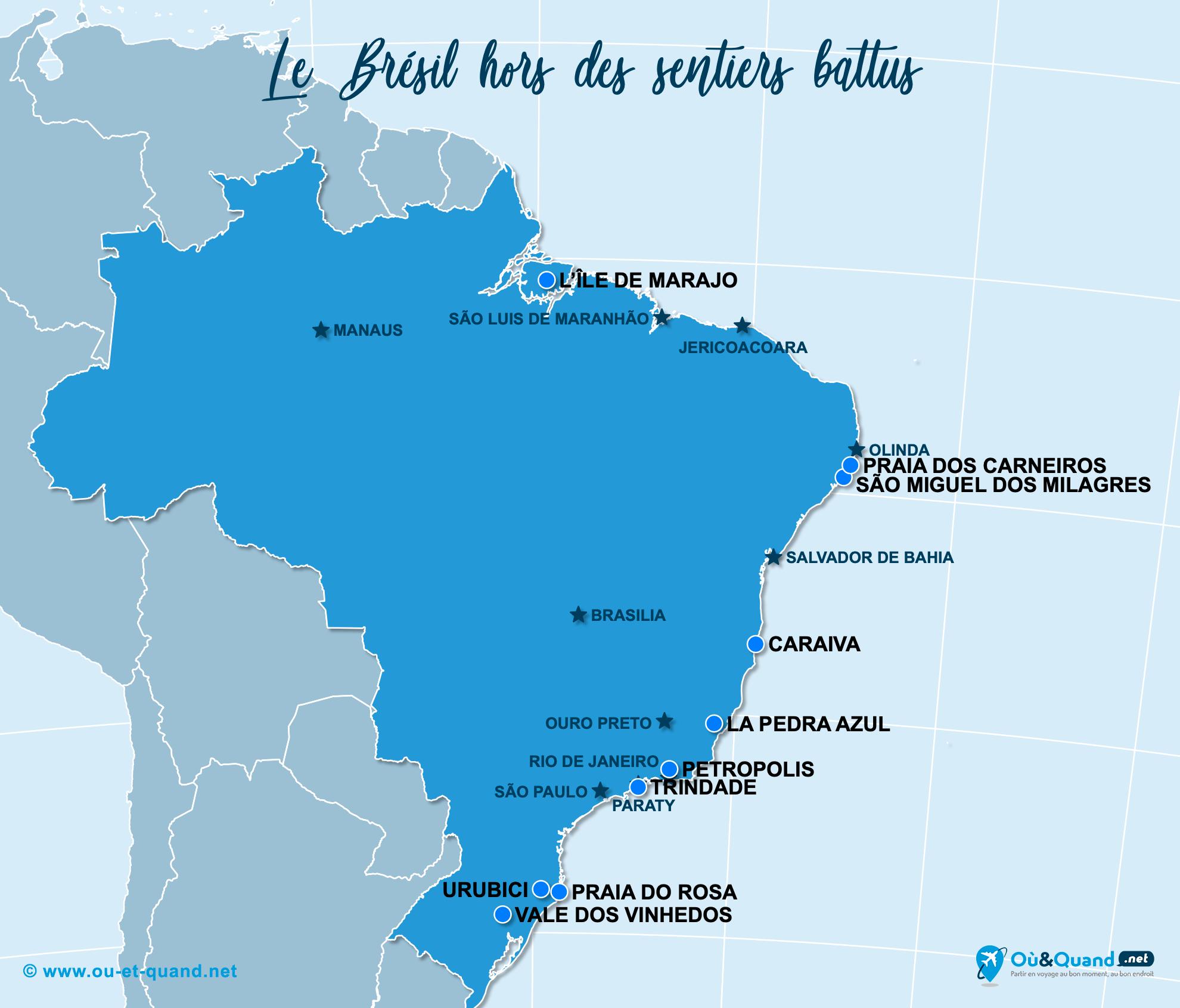 Carte Brésil : Le Brésil hors des sentiers battus