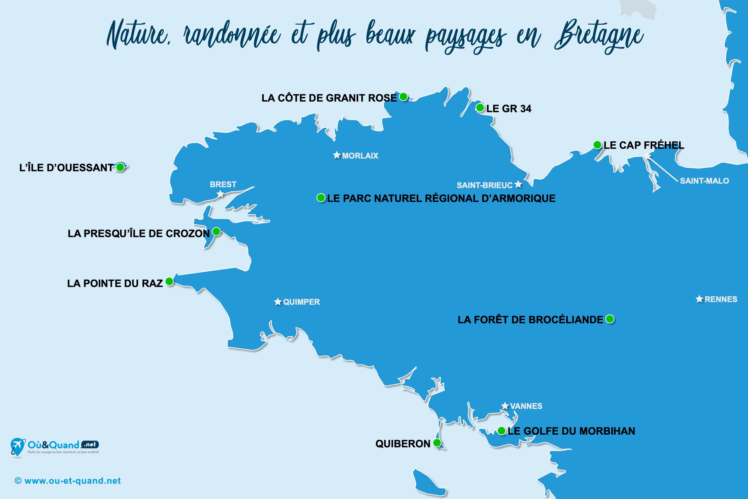 Carte Bretagne : Les plus beaux paysages de la Bretagne