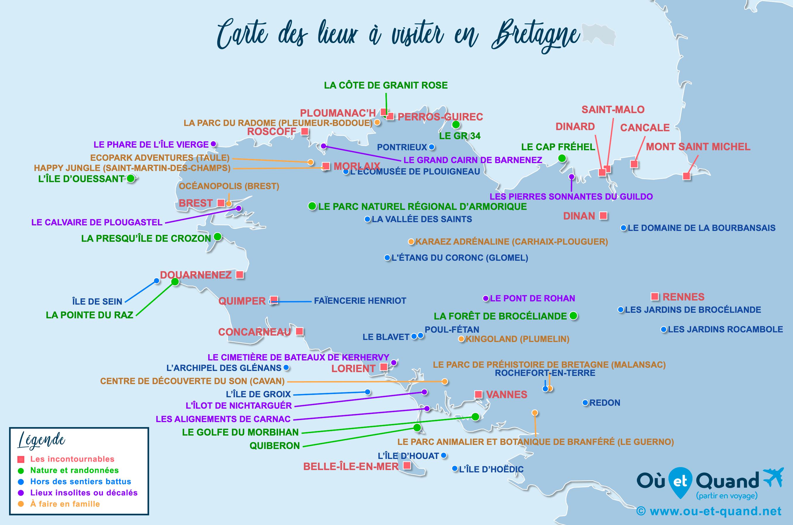 Carte Bretagne : tous les lieux à visiter lors de votre voyage