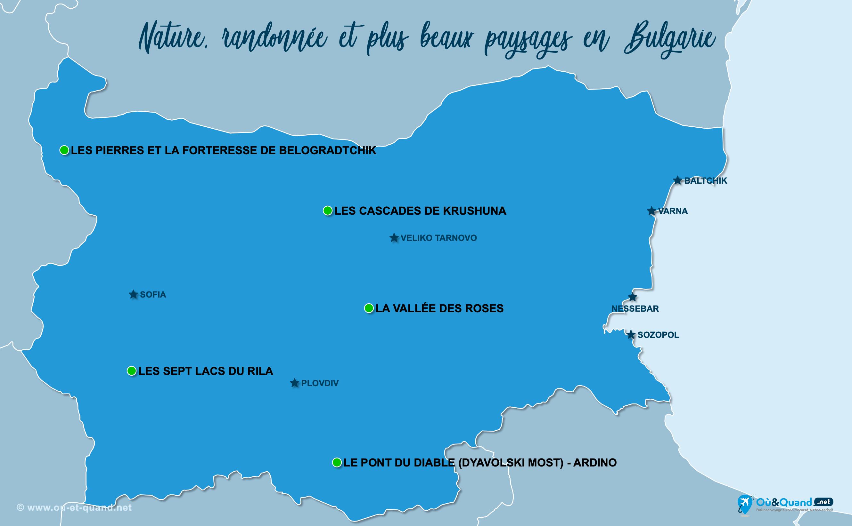 Carte Bulgarie : Les plus beaux paysages de la Bulgarie
