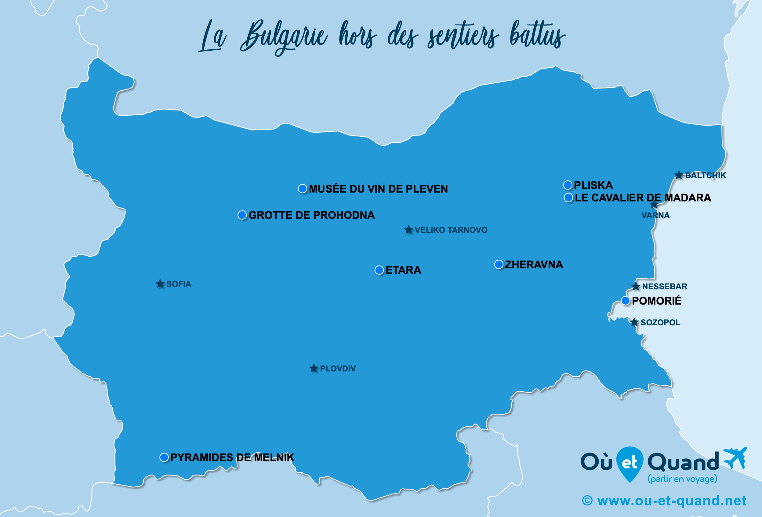 Carte Bulgarie : La Bulgarie hors des sentiers battus