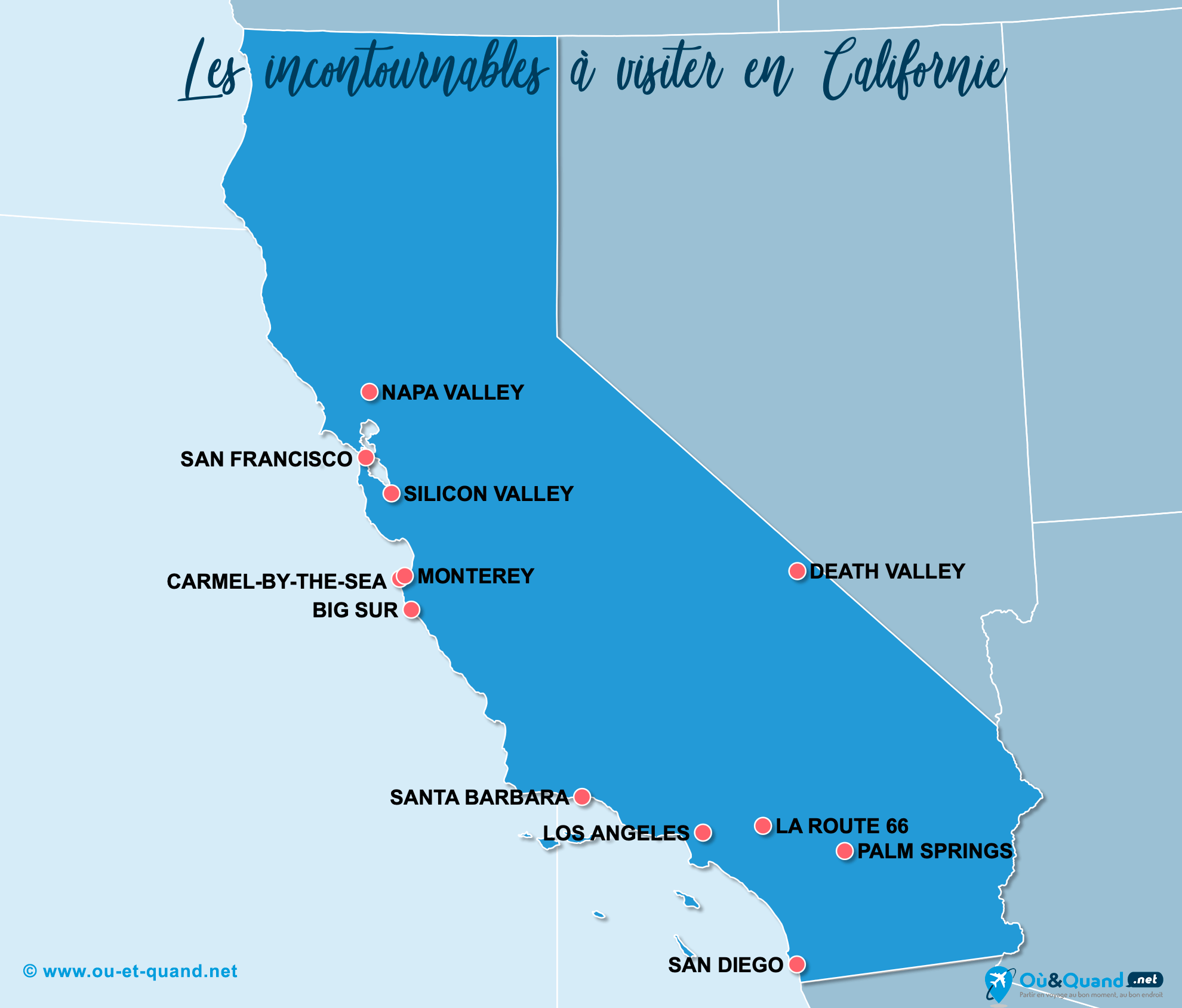 Carte Incontournables Californie