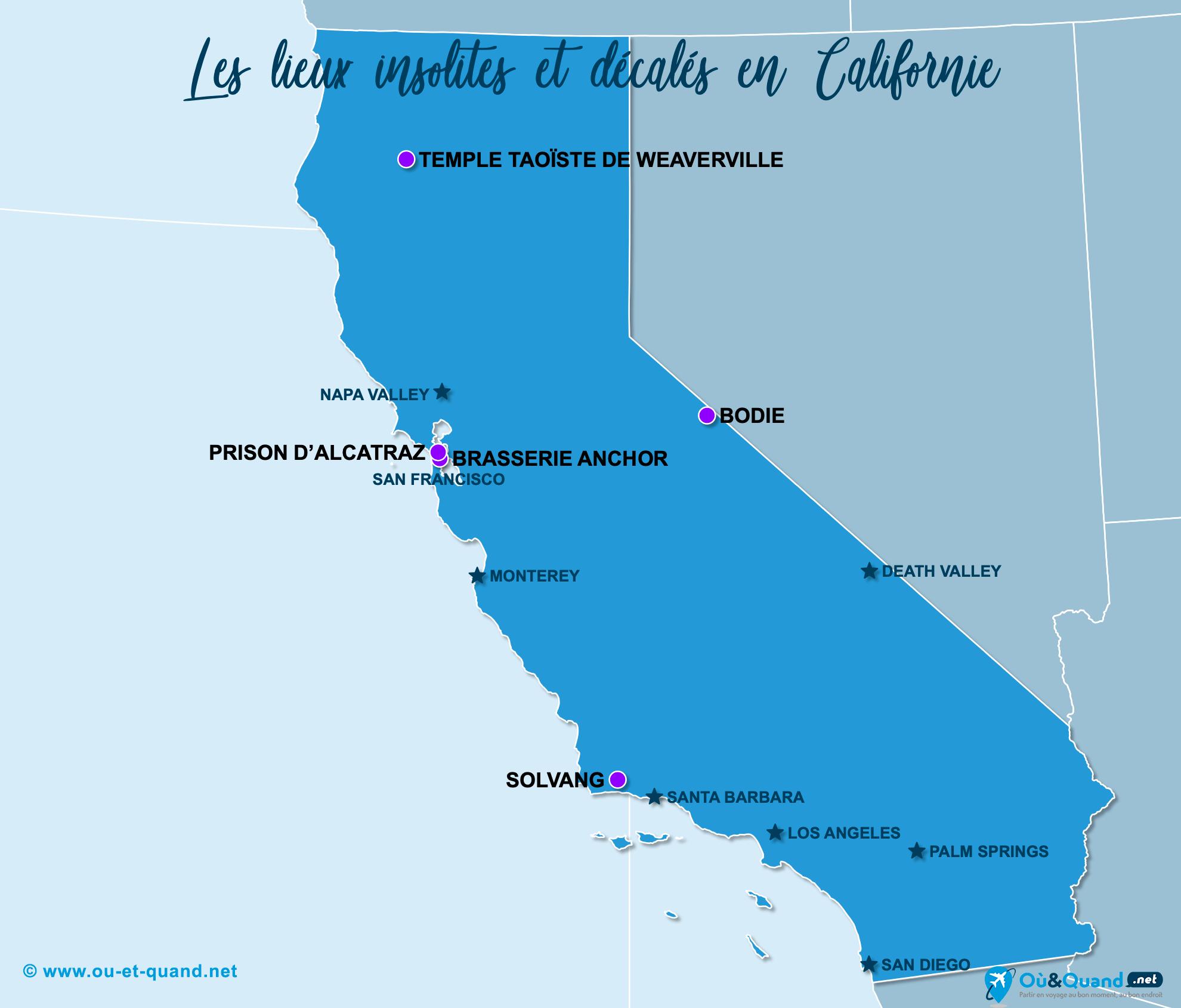 Carte Californie : La Californie insolite