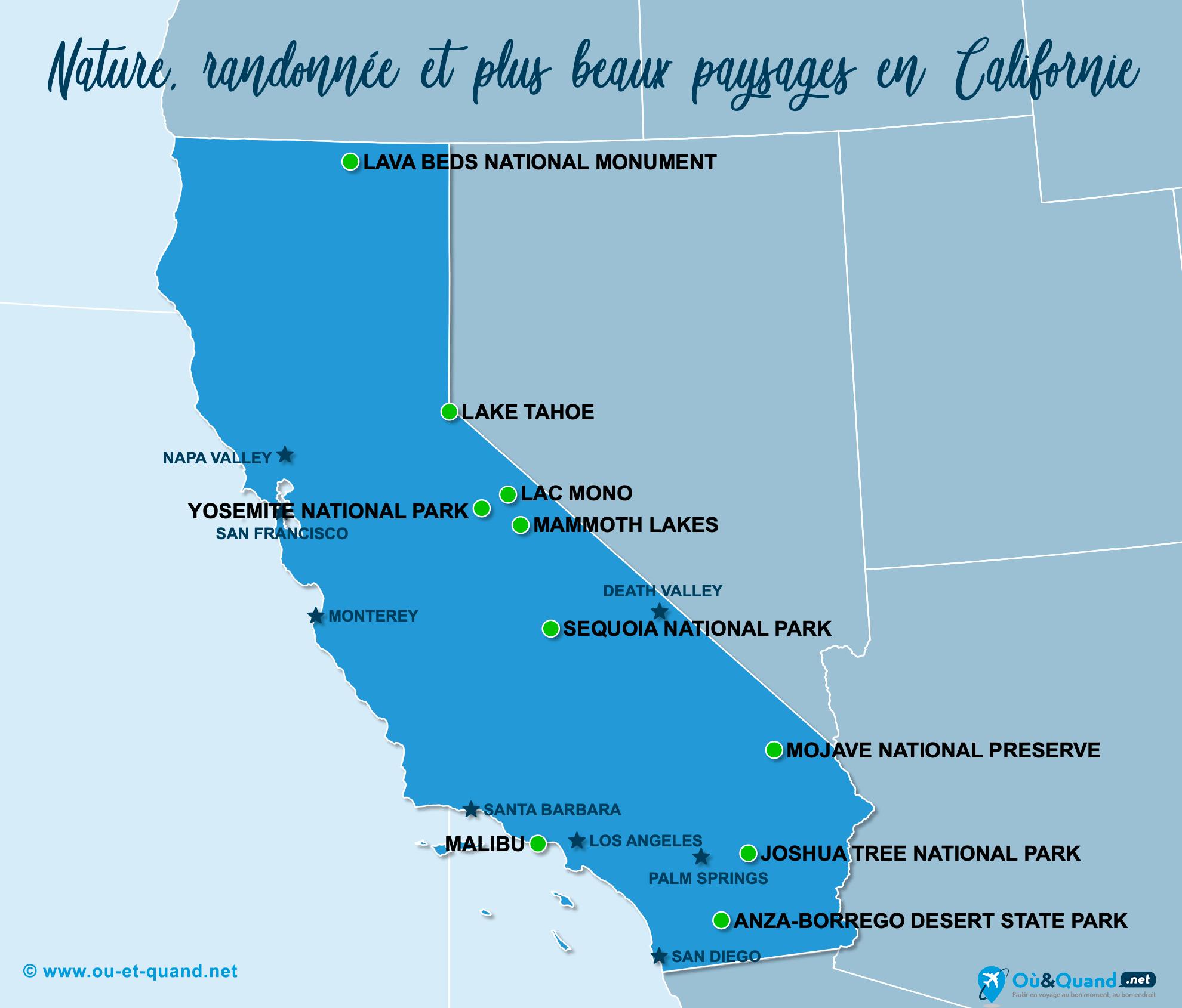 Carte Californie : Les plus beaux paysages de la Californie