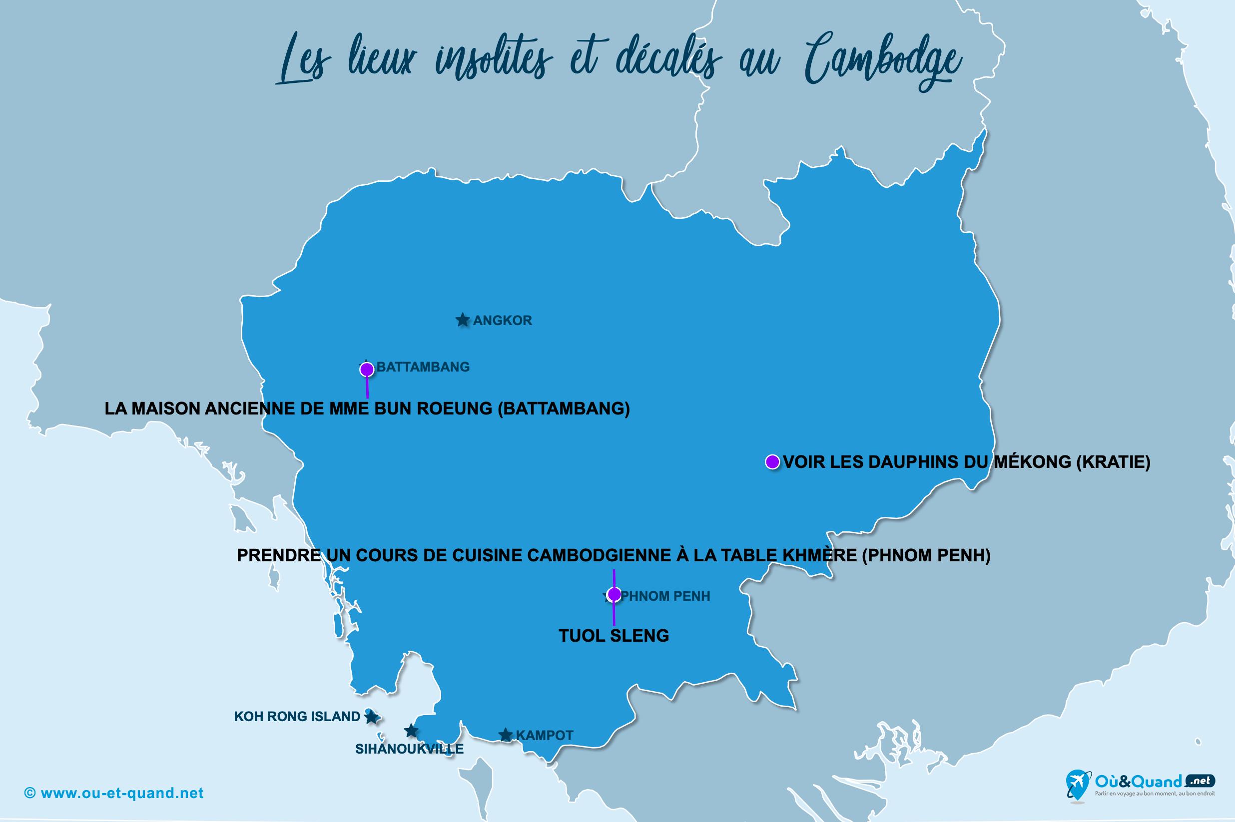 Carte Cambodge : Le Cambodge insolite