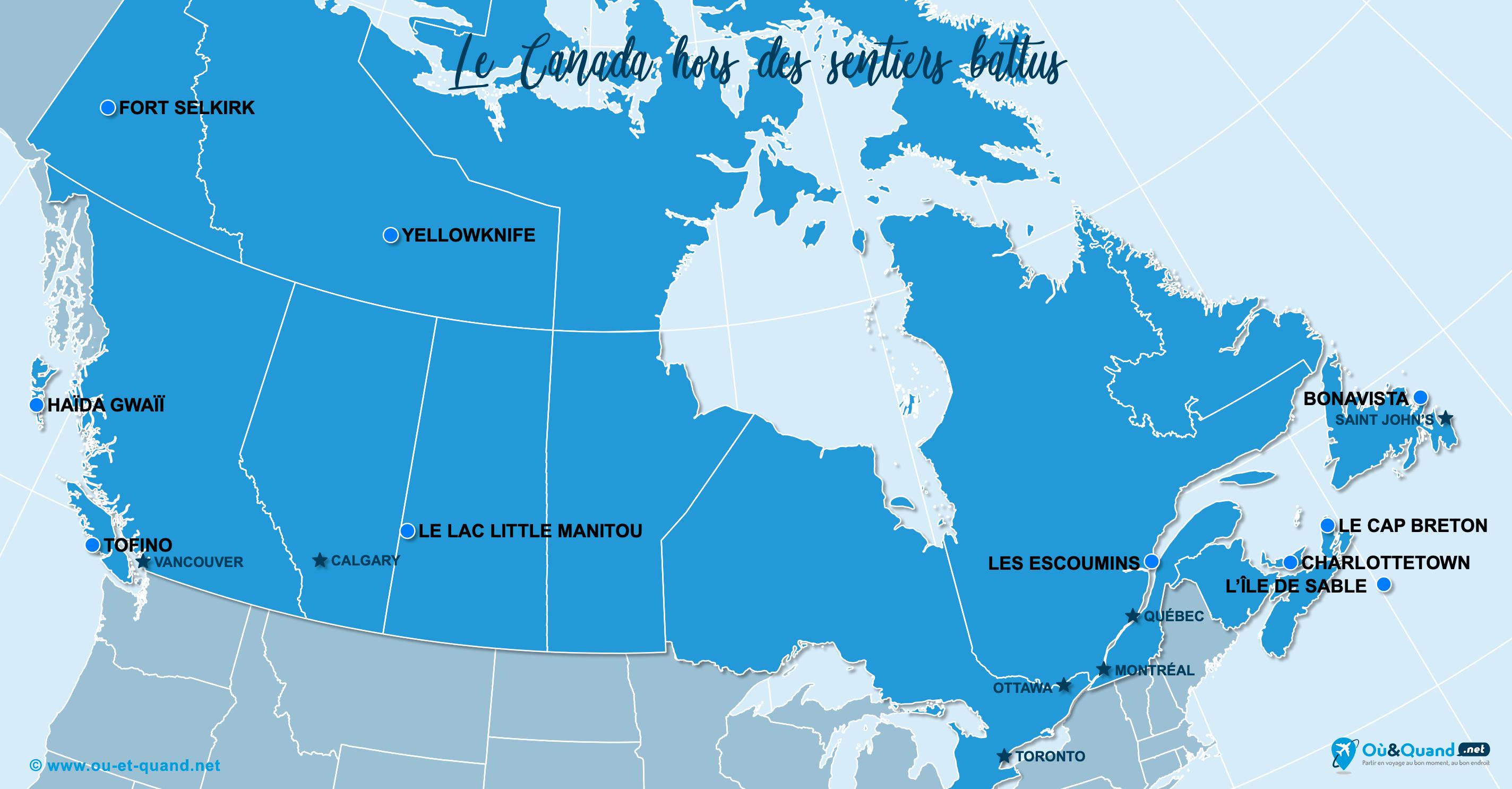 Carte Canada : Le Canada hors des sentiers battus
