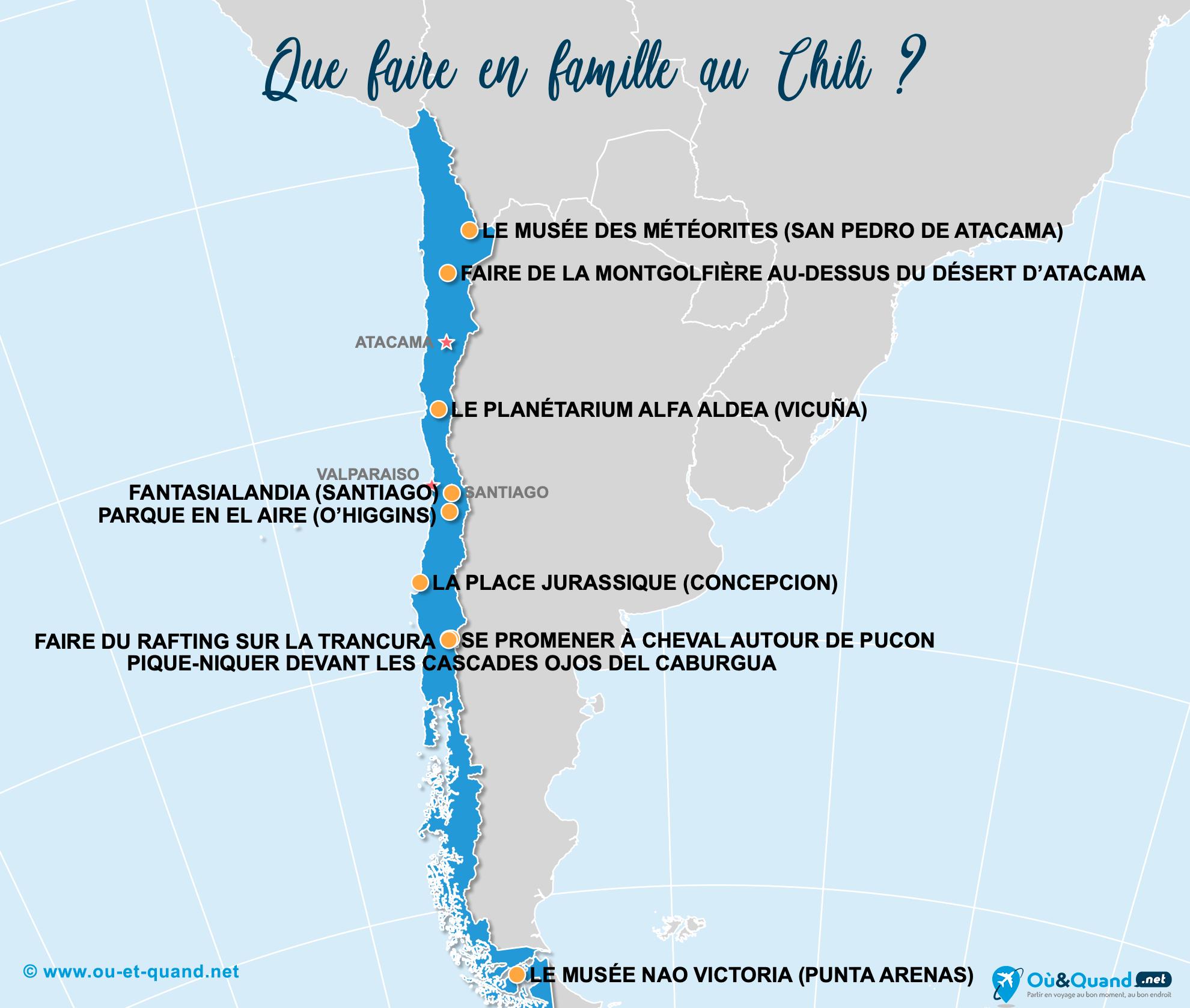 Carte Chili : Le Chili en famille