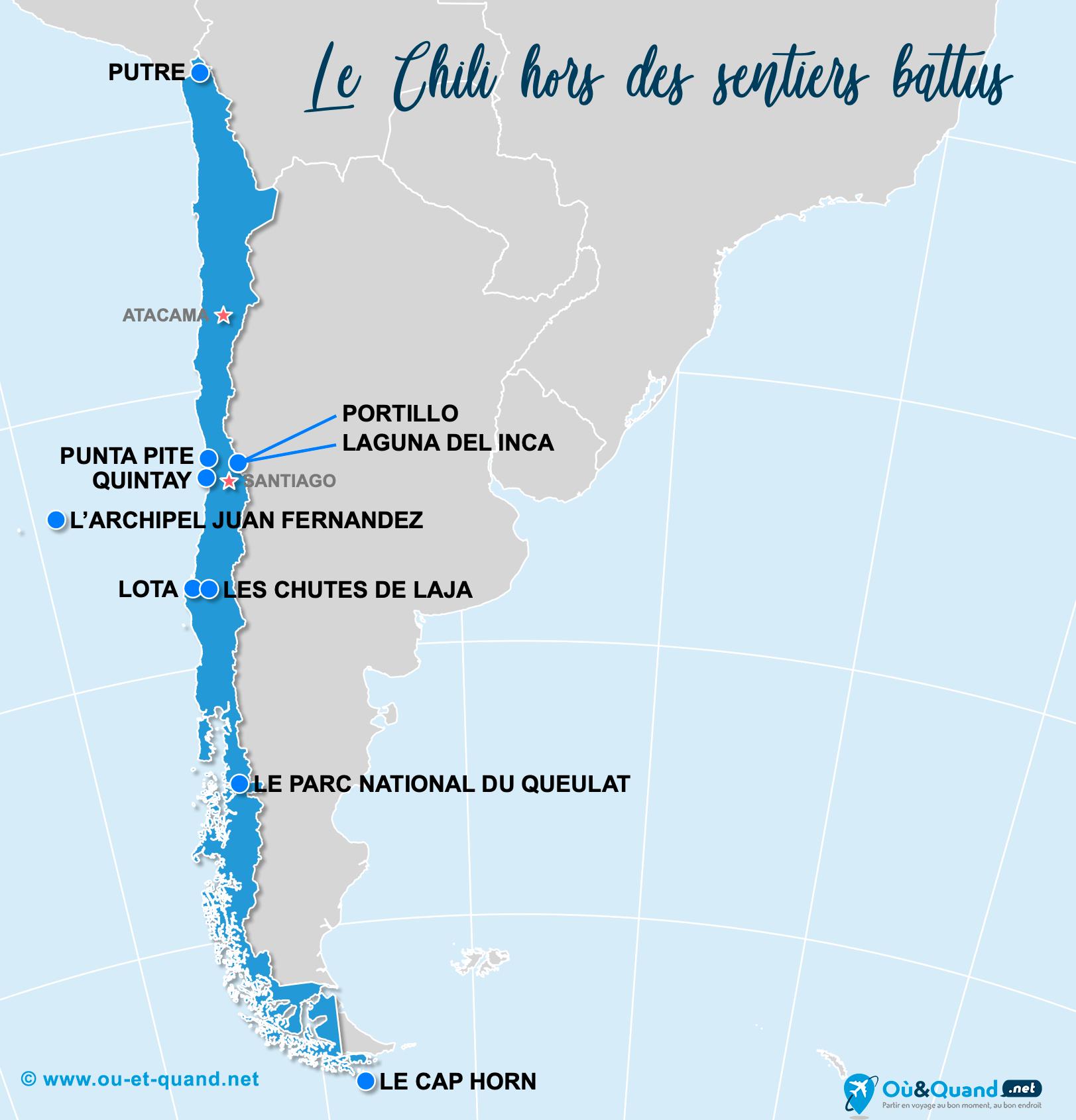 Carte Chili : Le Chili hors des sentiers battus